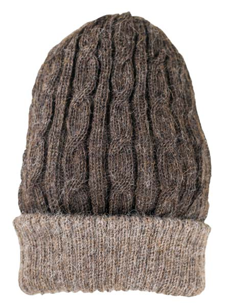 Cable Hat 100% Alpaca, Reversible Brown, winter Hats for the whole family