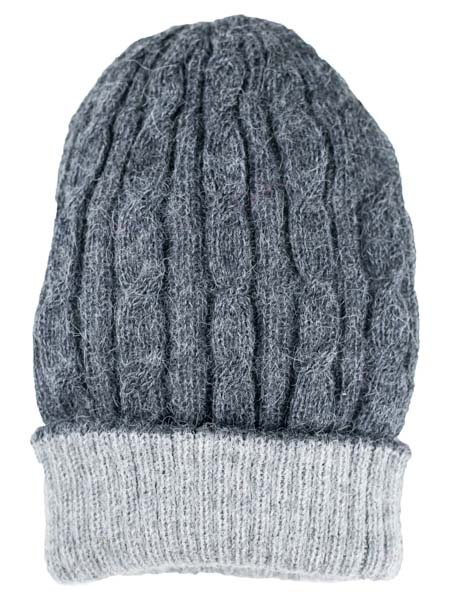 Cable Hat 100% Alpaca, Reversible Charcoal, winter Hats for the whole family