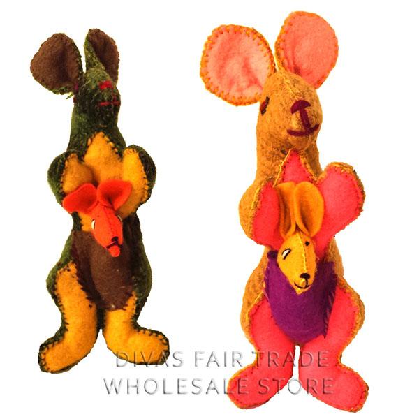 Kangaroo 100% Natural Wool Stuffed Toys Woolly Amigos