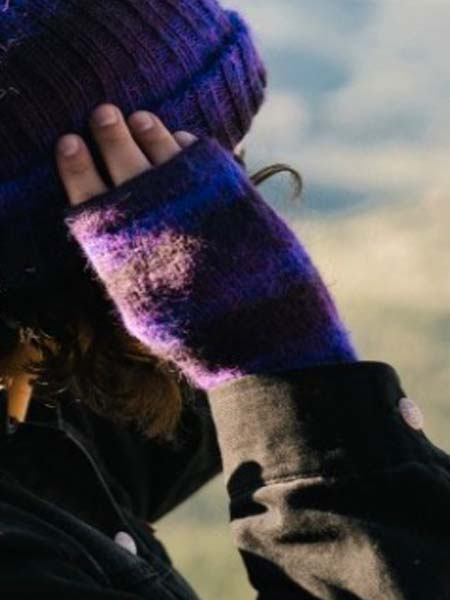 Awana Wrist Warmer, Purple 100% Alpaca, winter wrist warmers for the whole family