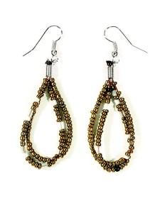 Gold Beaded Dewdrop Earrings