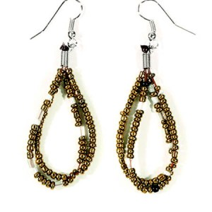 Gold Beaded Dewdrop Earrings