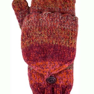 Funky Convertible Mitten, Burgundy. Alpaca Blend, winter Mittens for the whole family