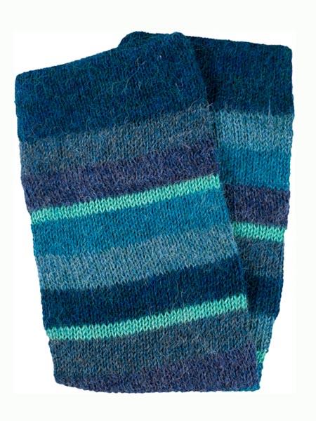 Multi Stripe Leg Warmer 100% Alpaca, Blue, Winter accessories for the whole family