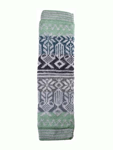 Geometric Leg Warmer Alpaca Blend, Olive, Winter accessories for the whole family