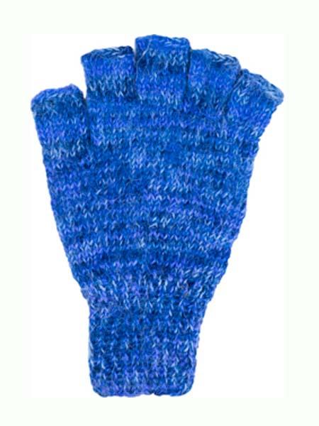 Manya Fingerless Glove, Blue 100% Alpaca, winter wrist warmers for the whole family