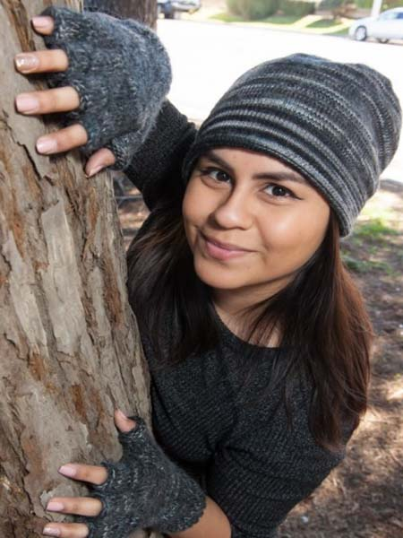 Manya Fingerless Glove, Grey 100% Alpaca, winter wrist warmers for the whole family