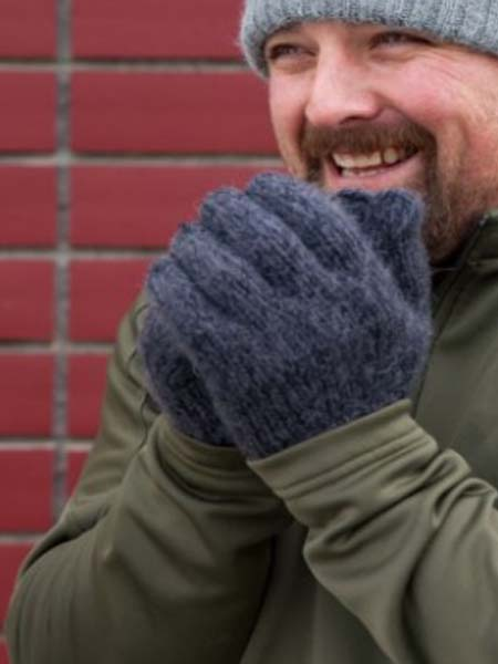 Milkshake Gloves, Grey 100% Alpaca, winter glovess for the whole family