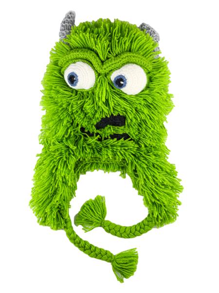 Kids Hairy Monster Hat Green