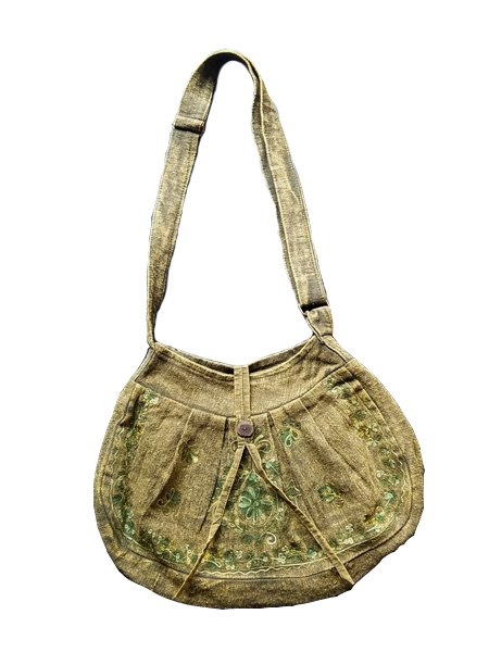 Green Stonewashed Sling Bag