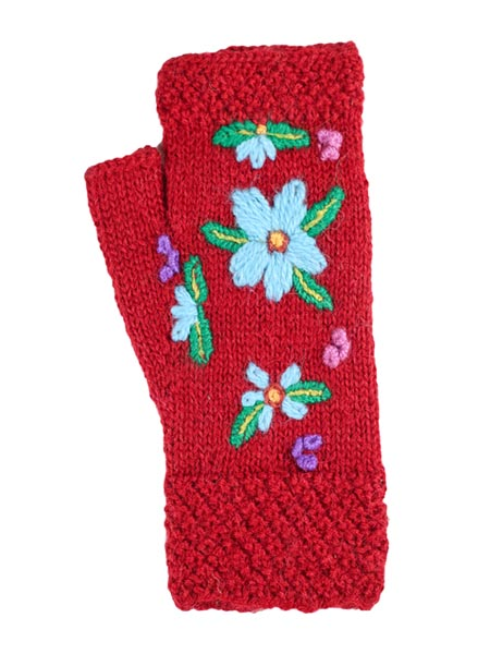 Embroidered Arm warmer Alpaca Blend, Red, Fingerless, winter Scarves for the whole family