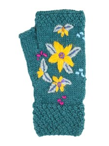 Embroidered Arm warmer Alpaca Blend, Teal, Fingerless, winter Scarves for the whole family