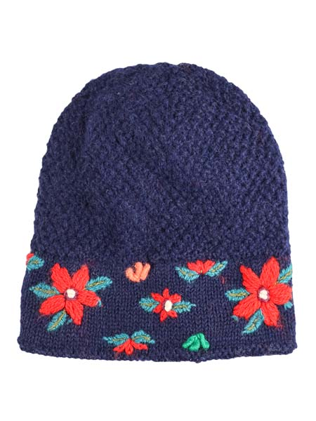 Embroidered Flower Hat 100% Alpaca, Navy, Winter Hats for the whole family