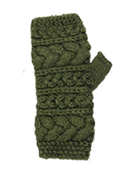 Cable Arm Warmer, Alpaca Blend. Fingerless Olive winter wrist warmers for the whole family