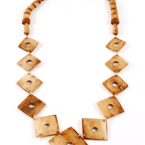 Roots Brown Bone Square Necklace