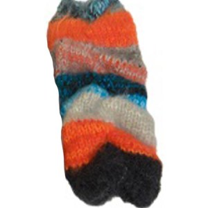 Slinky Funky Arm Warmer, Alpaca Blend. Fingerless Orange winter wrist warmers for the whole family