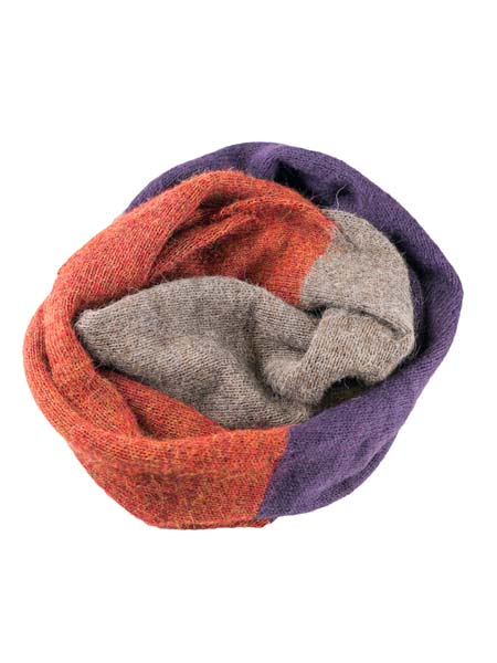 Infinity Scarf 100% Alpaca, Grape, multi color cowl, Unisex winter Scarves for the whole family