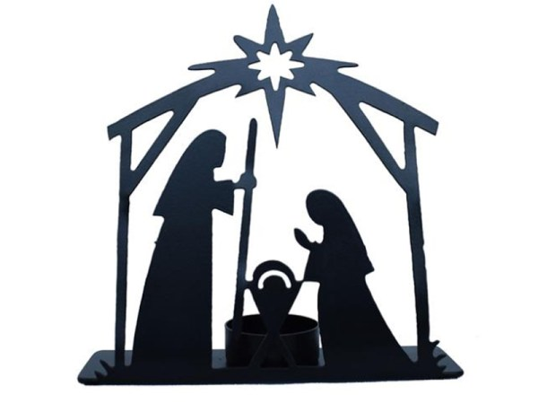 Candle Metal Nativity Scene