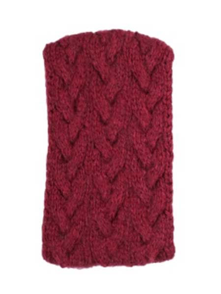 Cable Ear Warmer, Burgundy, Alpaca Blend, winter Headbands for the whole family