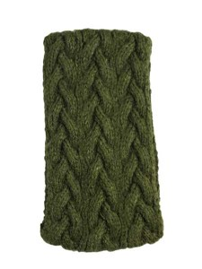 Cable Ear Warmer, Olive, Alpaca Blend, winter Headbands for the whole family