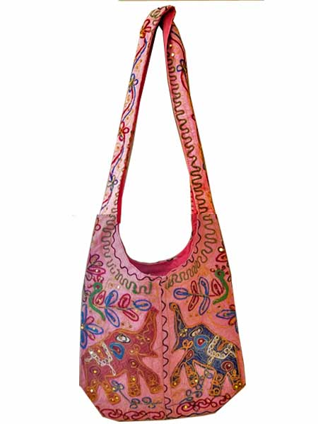 Crossbody sequent sling bag, Elephants in Pink