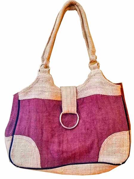 Hemp Handbag Brown with Ring