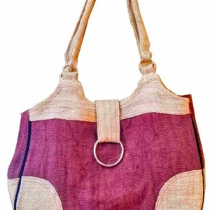 Hemp Handbag Brown with Ring