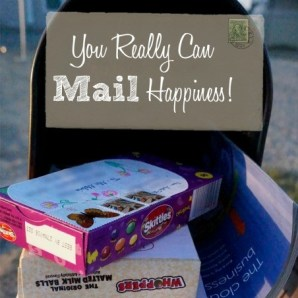 Just imagine opening your mail box and nestled among the bills you find a brightly colored, fun surprise package. For the cost of postage and a box of candy you can totally make someone's day!