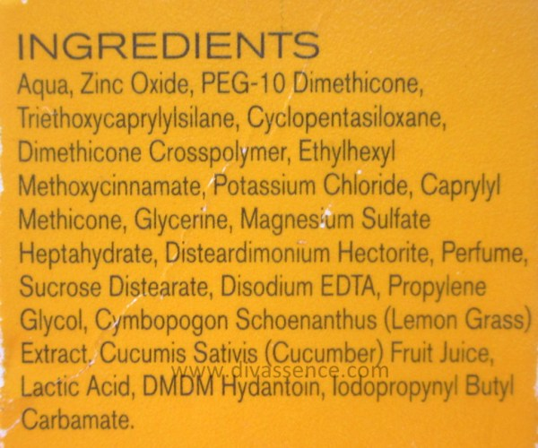 ingredients, sunscreen