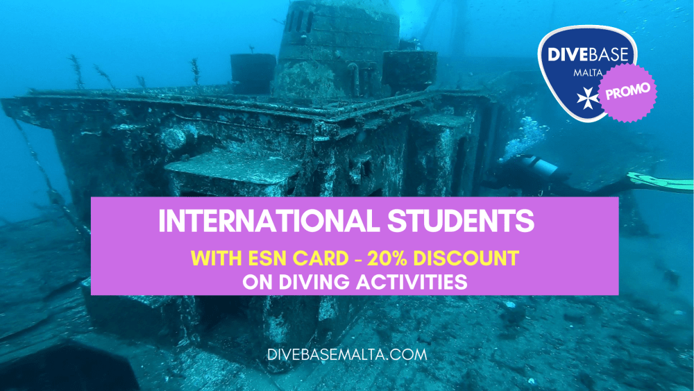 ESN Card Discount for diving courses, dives and snorkeling tours. DiveBase Malta supports Erasmus