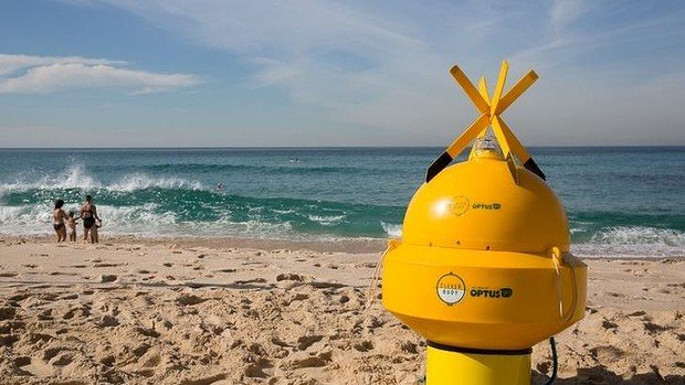 """The Optus Clever Buoy will detect sharks as they approach the beach. Source: Supplied for THE AUSTRALIAN JULY 30, 2014  """"Bondi's Clever Buoy system will make the beach a no go zone for sharks,...."""""""