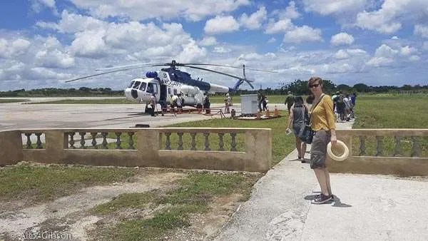 Helicopter ride to Cayo Largo