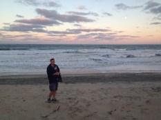 Simon takes Blake for a sunset walk
