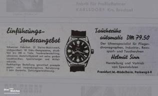 """...konnten Kunden im Gründungsjahr 1961 als """"Einführungs-Sonderangebot""""die abgebildete Taucheruhr für DM 79.50 bestellen."""