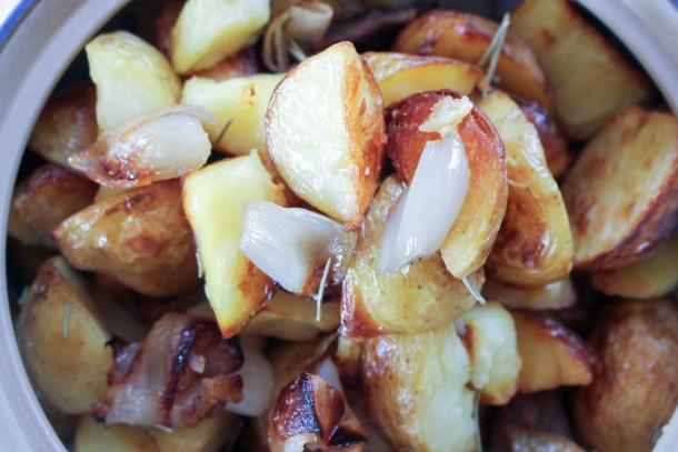 roasted potatoes and shallots