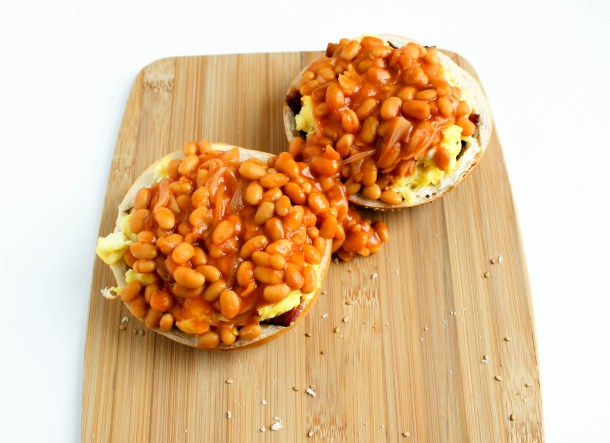 Bacon Eggs and Beans in a Bagel Basket