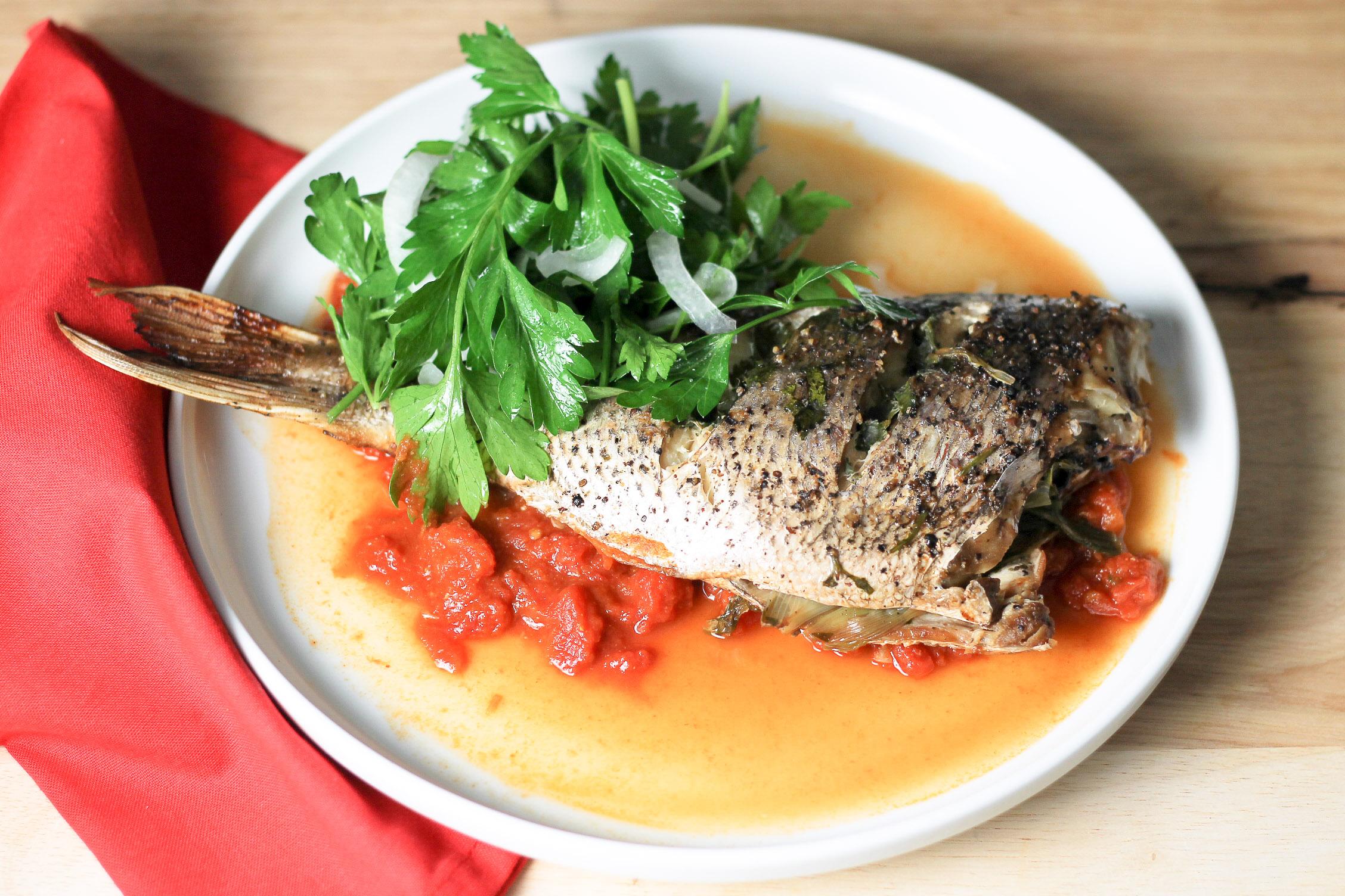 fish escabeche with tomato sauce