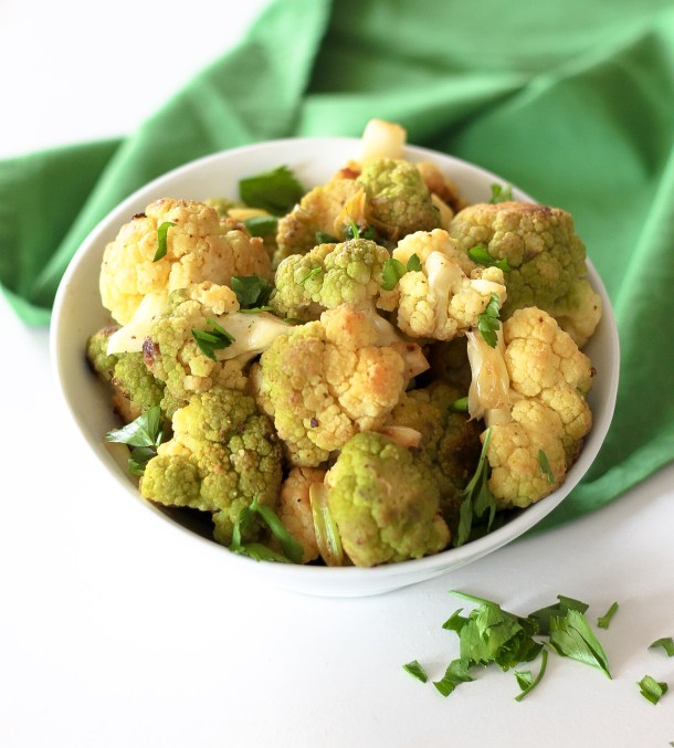 Lime Garlic Green Cauliflower by Diverse Dinners