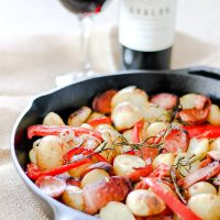 Skillet Baked Sausage Potatoes and Peppers
