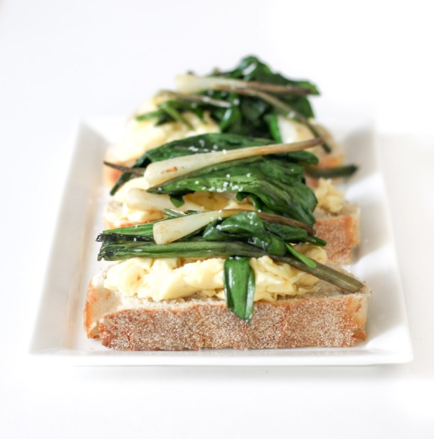Cheesy Scrambled Eggs and Ramp Toast by Diverse Dinners