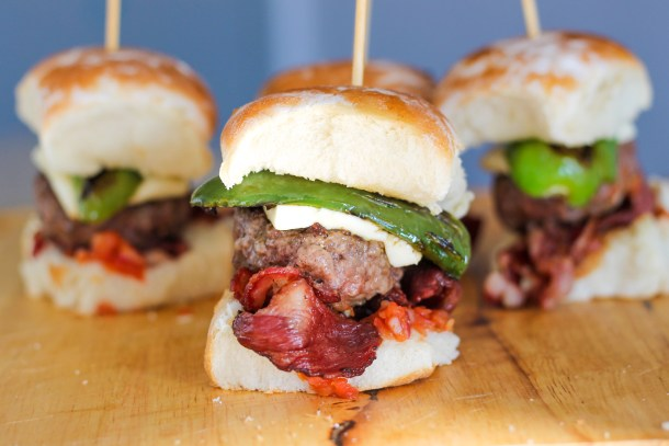 Jalapeno Sliders with Queso and Beef Bacon by Diverse Dinners