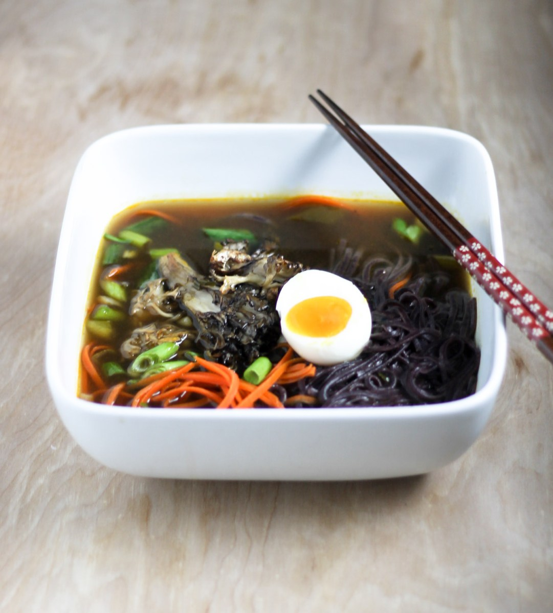 Black Rice Noodle Roasted Maitake Soup