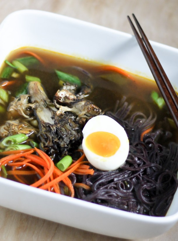 Black Rice Noodle Roasted Maitake Soup by Diverse Dinners