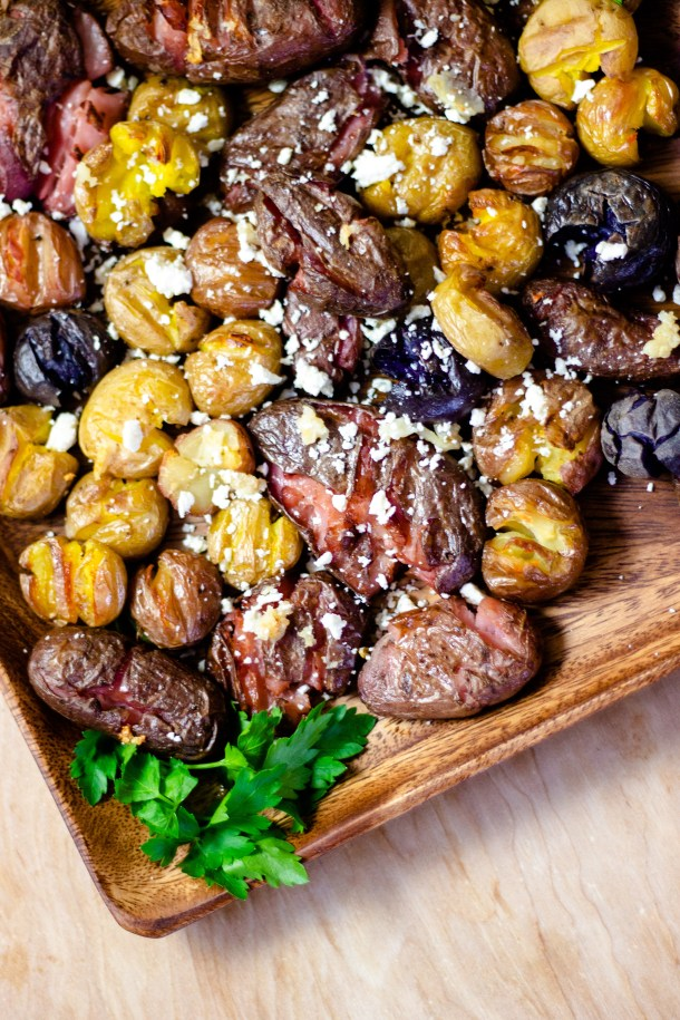 Roasted Smashed Potatoes by Diverse Dinners