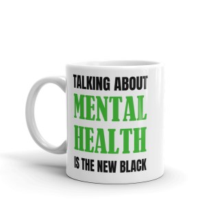 mental health new black mug