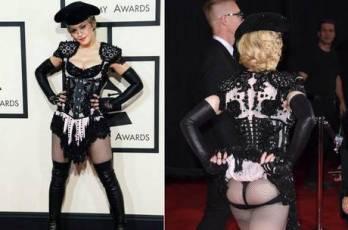 Madonna mostrou o bumbum durante o Grammy Awards 2015 Reprodução/NYDailyNews