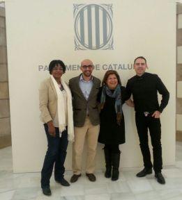 Mariano Moreno (derecha), junto con tres miembros del Comité Coordinador de la Sectorial; Consuelo Cruz, Mohamez Azahaf y Julia Martínez