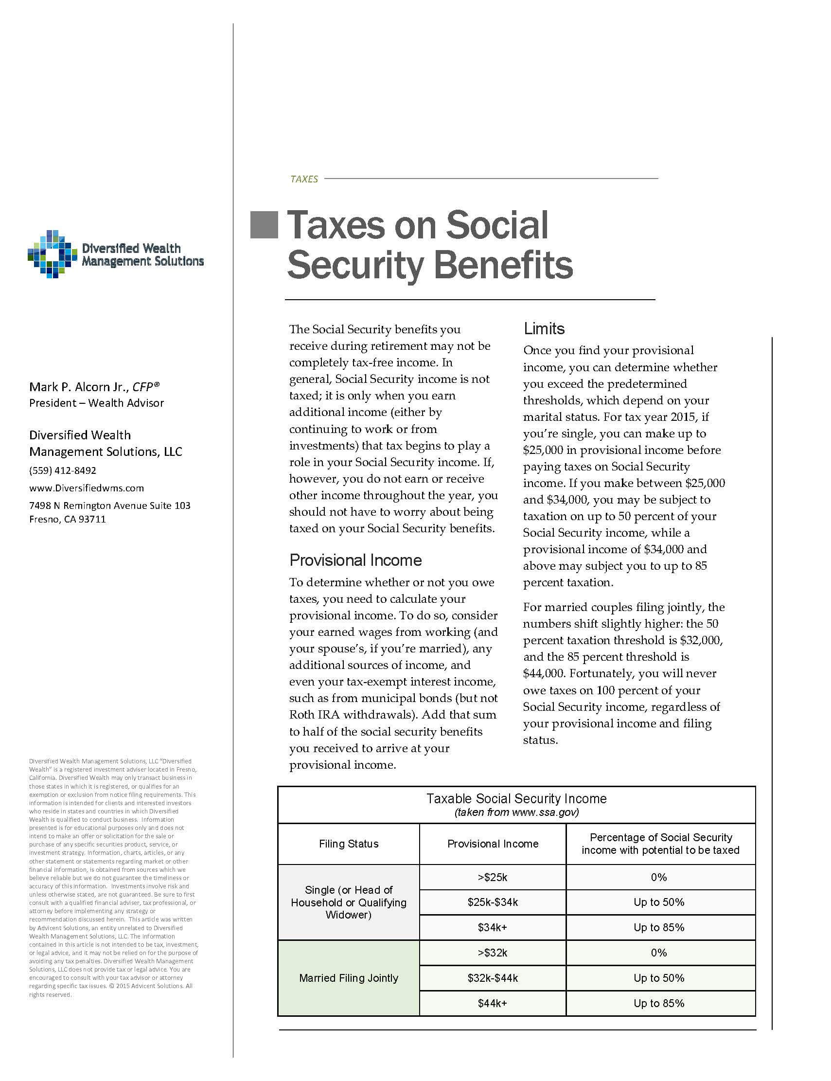 Taxes On Social Security Benefits