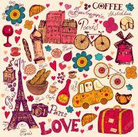 15383676-pattern-with-Paris-symbols-Stock-Vector-paris-vintage-love