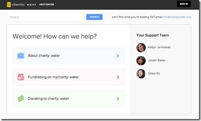 charity water help desk screenshot